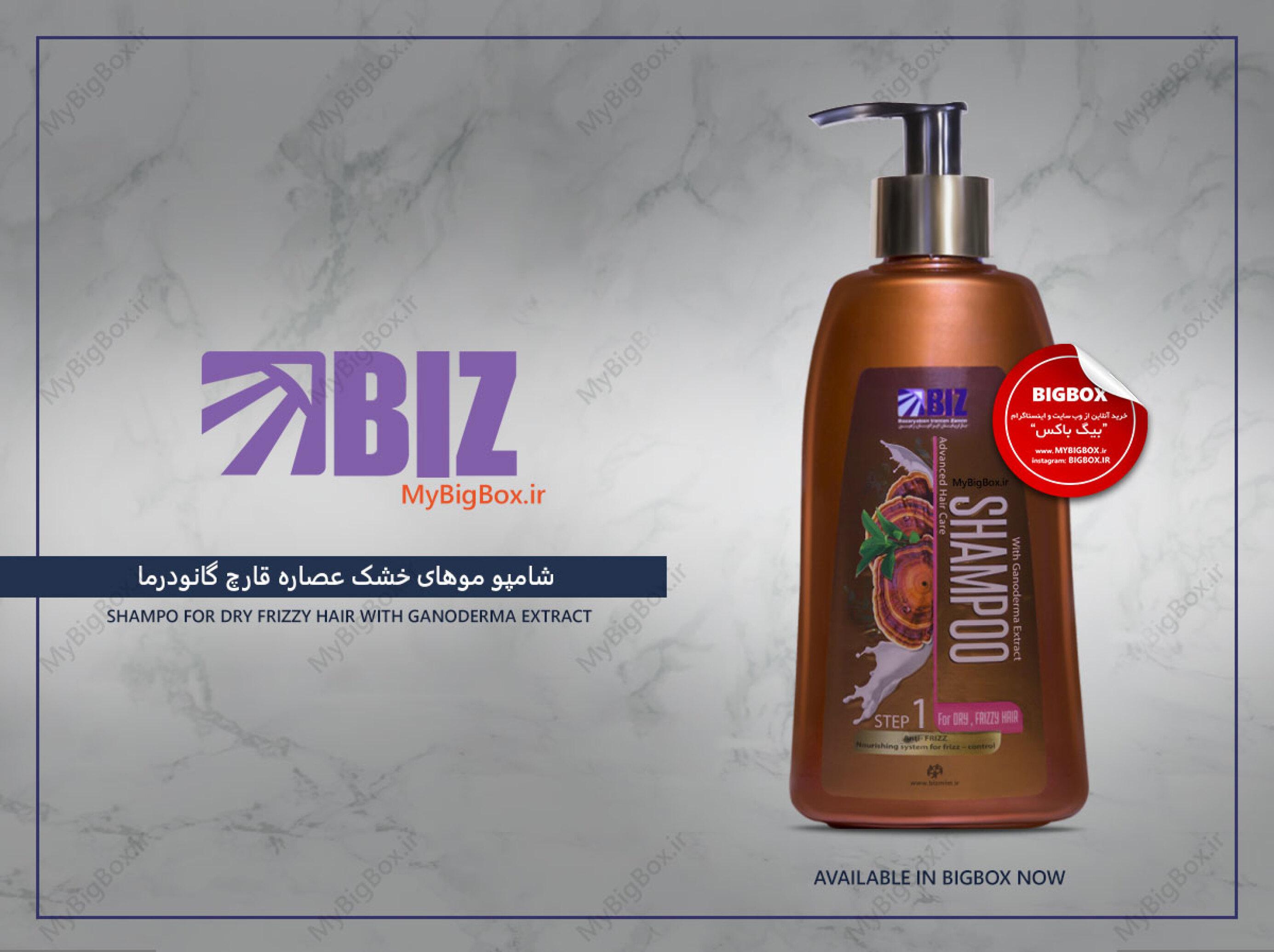 شامپو موهای خشک بیز مدل قارچ گانودرما حجم 300 میلی لیتر Biz shampoo Dry hair