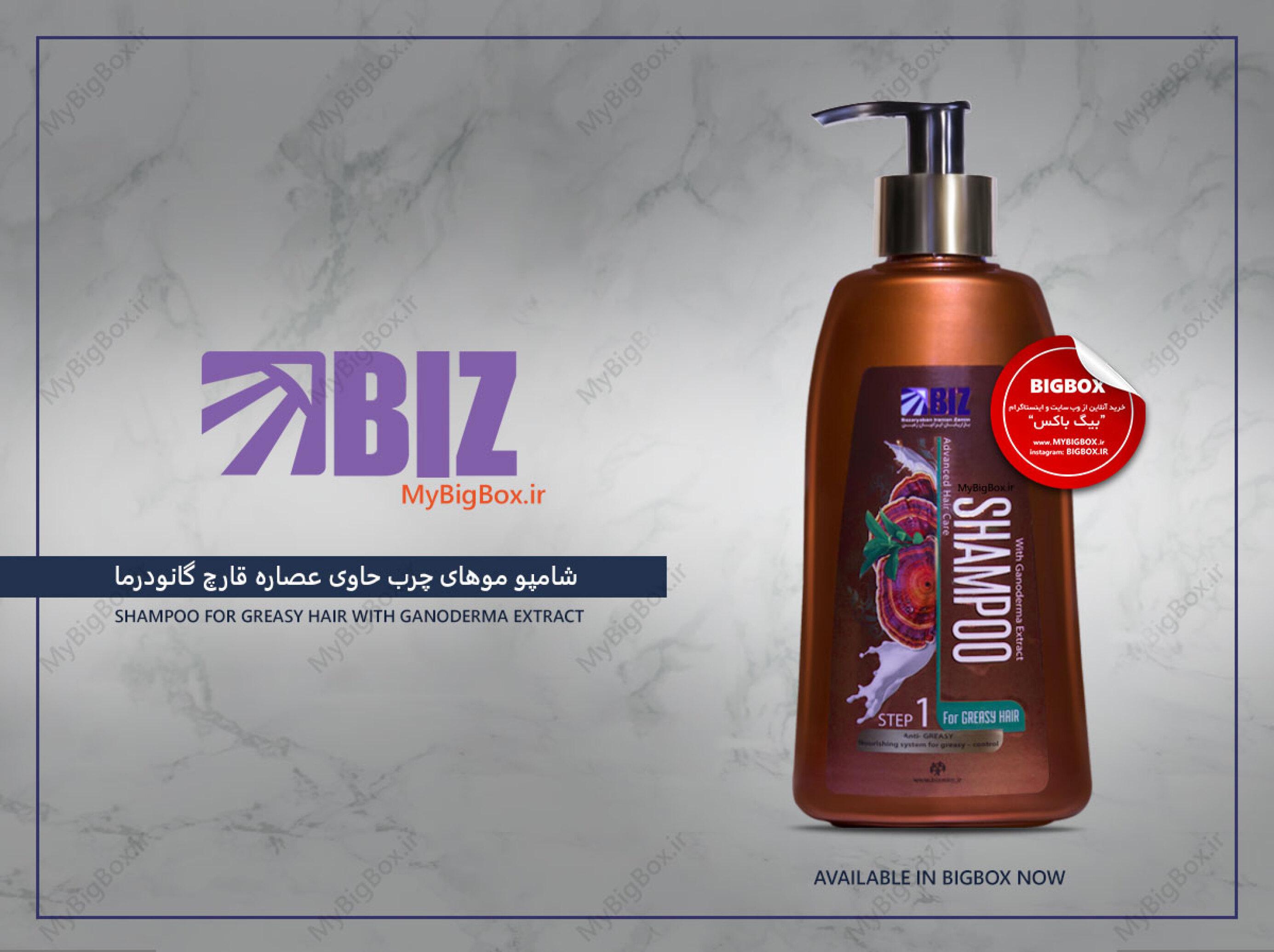 شامپو موهای چرب بیز مدل قارچ گانودرما حجم 300 میلی لیتر Biz shampoo greasy hair